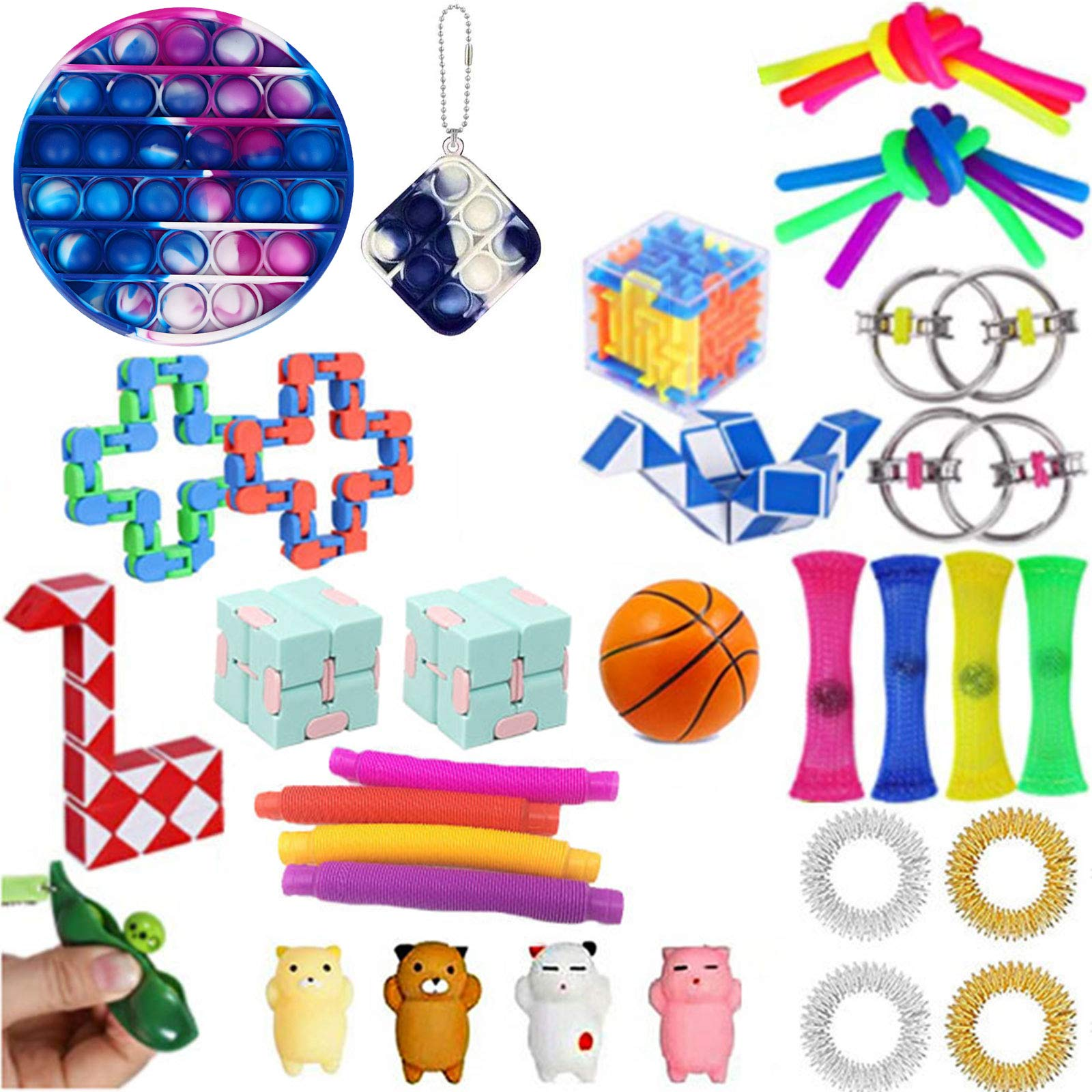 Komoo Fidget Toy 31Pcs Fidgets Box Cheap, Simple Dimple Fidget Toys Packs, Decompression Keychain Toy, Push Pop Bubble Sensory Toy for Kids and Adults (D)
