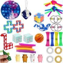 Komoo Fidget Toy 31Pcs Fidgets Box Cheap, Simple Dimple Fidget Toys Packs, Decompression Keychain Toy, Push Pop Bubble Sensory Toy for Kids and Adults (D)