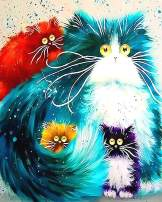 """iCoostor Paint by Numbers DIY Acrylic Painting Kit for Kids & Adults Beginner – 16"""" x 20"""" Four Color Cat Pattern with 3 Brushes & Bright Colors"""