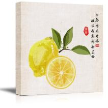 wall26 - Square Canvas Wall Art - Watercolor Style Chinese Painting of Yellow Lemons - Giclee Print Gallery Wrap Modern Home Decor Ready to Hang - 12x12 inches