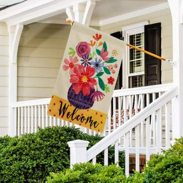 Dolopl Welcome House Flag 28x40 Inch Double Sided Verticle Decorative Watercolor Flowers Vase Seasonal Yard House Flag For Spring Summer Outdoor Indoor Decoration
