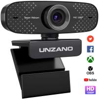 UNZANO USB Webcam with Microphone, 1080P Full HD Web Camera for Laptop and Desktop - Video Calling and Recording PC Webcam for Streaming, 360 Degree Rotatable