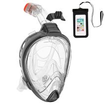 AKASO Snorkel Mask 180° Panoramic View Anti-Fog Anti-Leak Easy Breathe Without fogging Full Face Snorkeling Mask Compatible with Various Sports Cameras