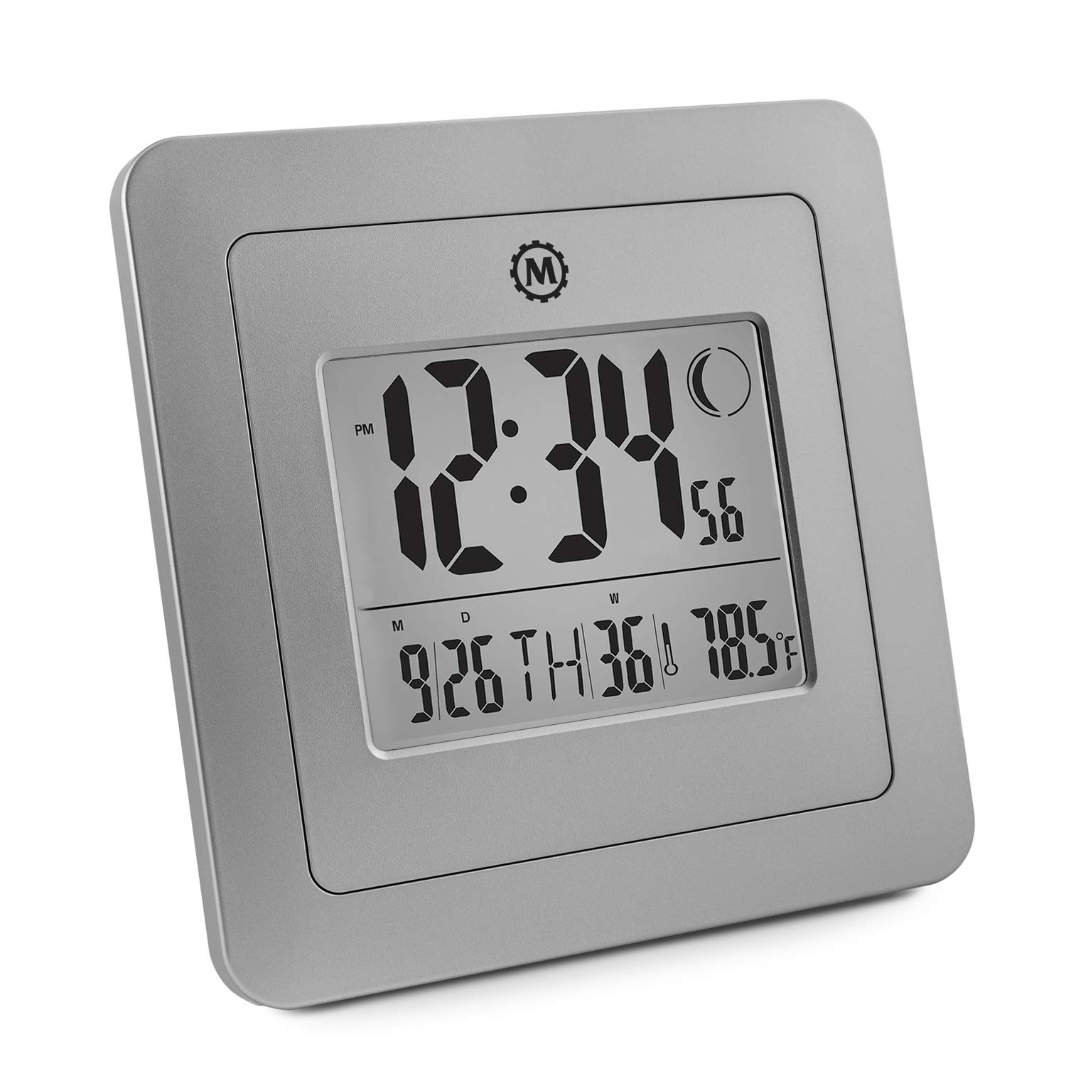 Marathon CL030049GG Digital Wall Clock, Graphite Grey