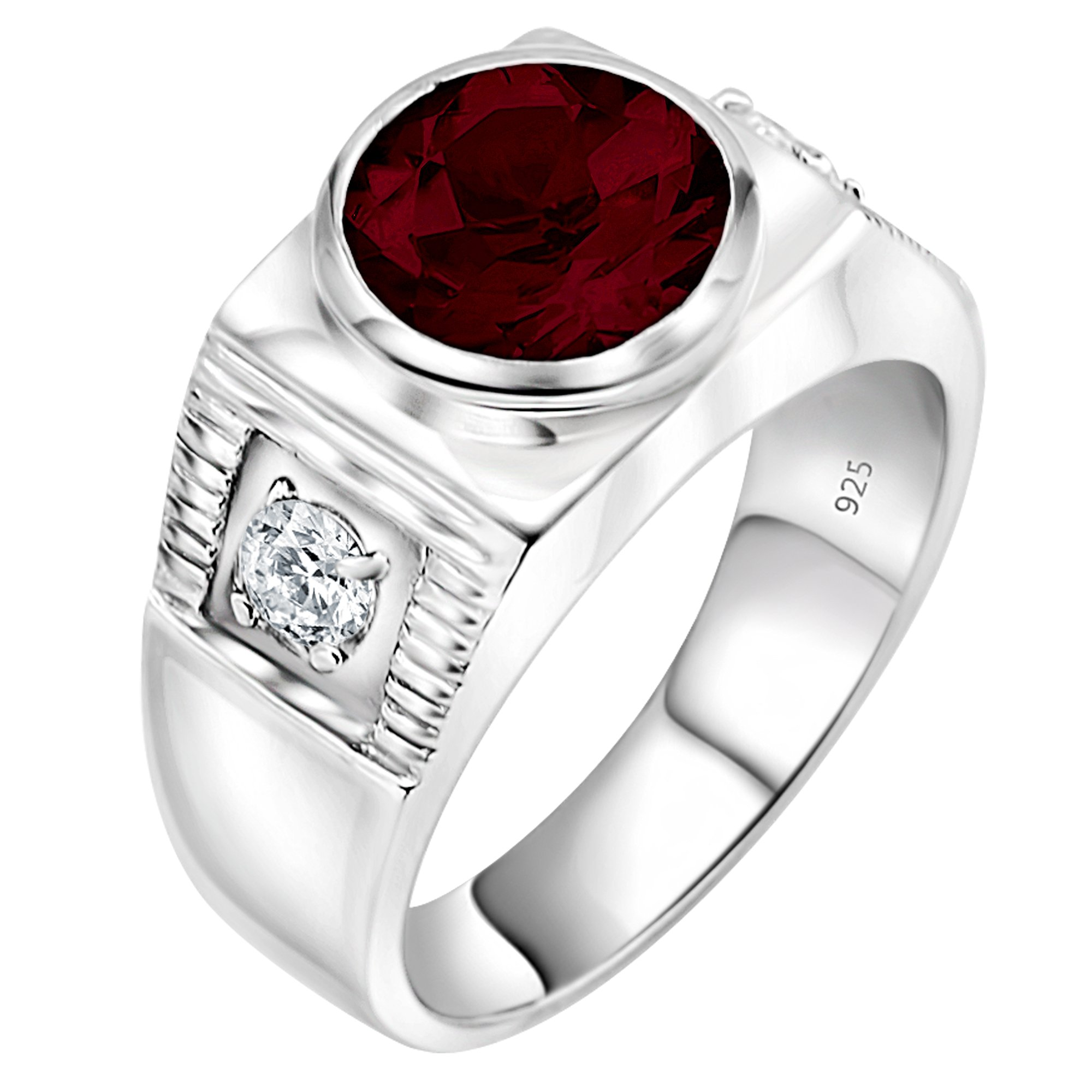 Men's Sterling Silver .925 Ring with 2.5ct Red Round Center CZ Stone and 2 White Cubic Zirconia (CZ) Stones