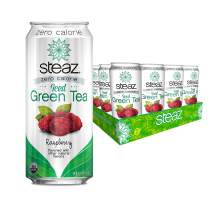 Steaz Organic Zero Calorie Iced Green Tea, Raspberry, 16 FL OZ (Pack of 12)