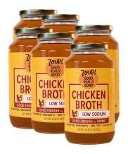Low Sodium Chicken Broth by Zoup! - Gluten Free, Non GMO, Fat Free, Low Sodium Chicken Broth - Great for Stock, Bouillon, Soup Base or to Drink, 6-pack of 32 oz Jars