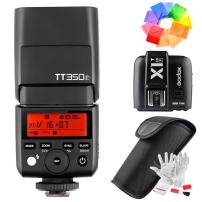 Godox TT350F Flash with X1T-F Trigger for Fujifilm Fuji Cameras GN36 TTL 1/8000s HSS 2.4G Wireless Transmission - with Color Filters and PERGEAR Cleaning Cloth