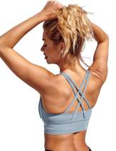 Workout Tops for Women Longline Strappy Sports Bra Padded Yoga Tank Fitness Gym Crop Camisole
