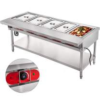 VBENLEM Commercial Electric Food Warmer 5 Pot Steam Table Food Warmer 18 Quart/Pan with Lids with 7 Inch Cutting Board Food Grade Stainless Steel Steam Table Serving Counter 110V 2500W for Restaurant