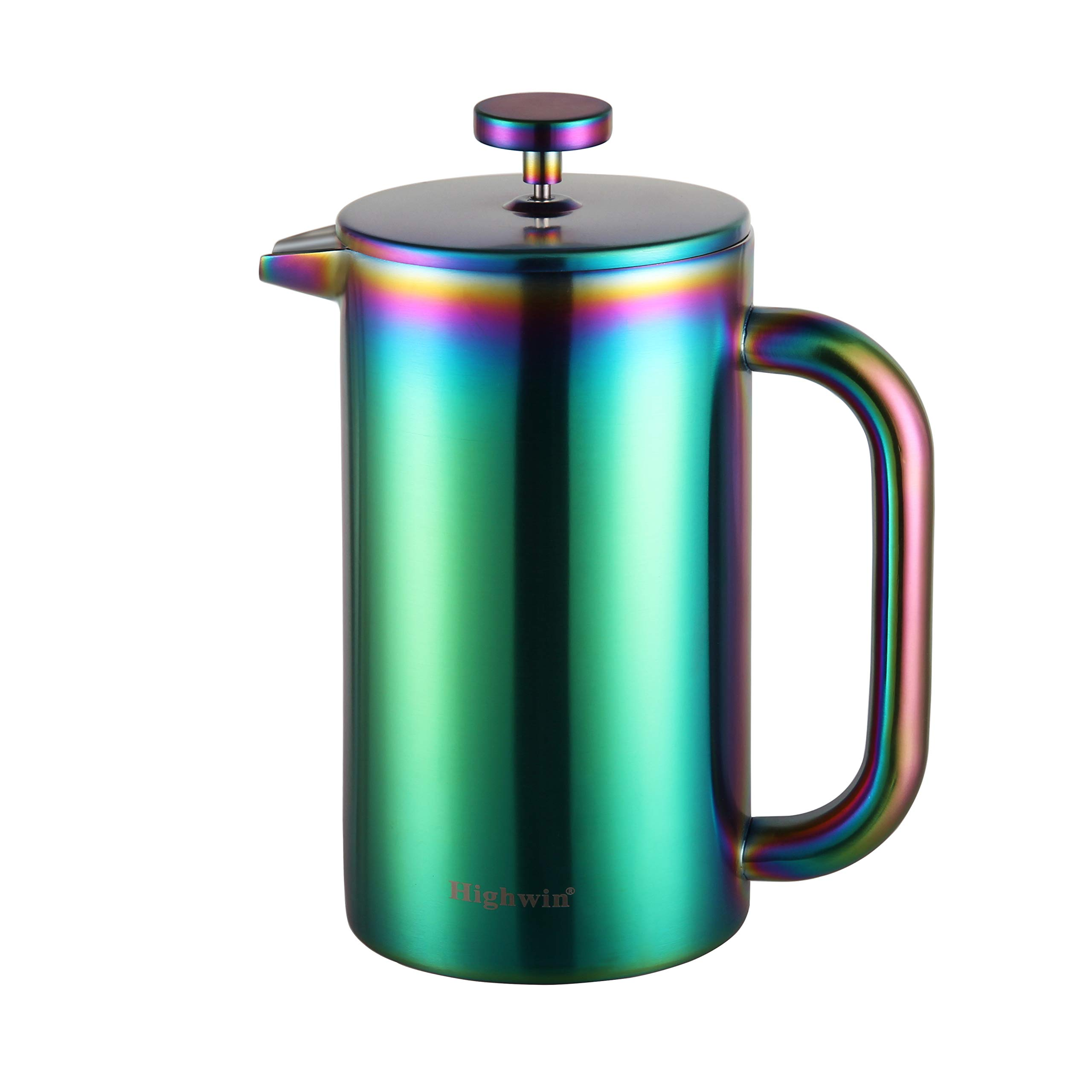 Highwin 8-Cup Double Wall Insulated Stainless Steel French Coffee Press, 34-Ounce Durable Coffee Tea Maker with Stainless Steel Plunger, Rainbow