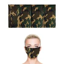 """3 Pack   100% Cotton U.S. Flag Bandana   Face Mask for Dust & Sun Protection   Nose Cover Scarf   22"""" inches by 22"""" inches (Camo Green)"""