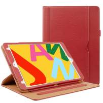 ZoneFoker New iPad 7th Generation Tablet Leather Case (10.2-inch,2019 Releases), 360 Protection Multi-Angle Viewing Folio Stand Cases with Pencil Holder for iPad 10.2 7th Gen - Red