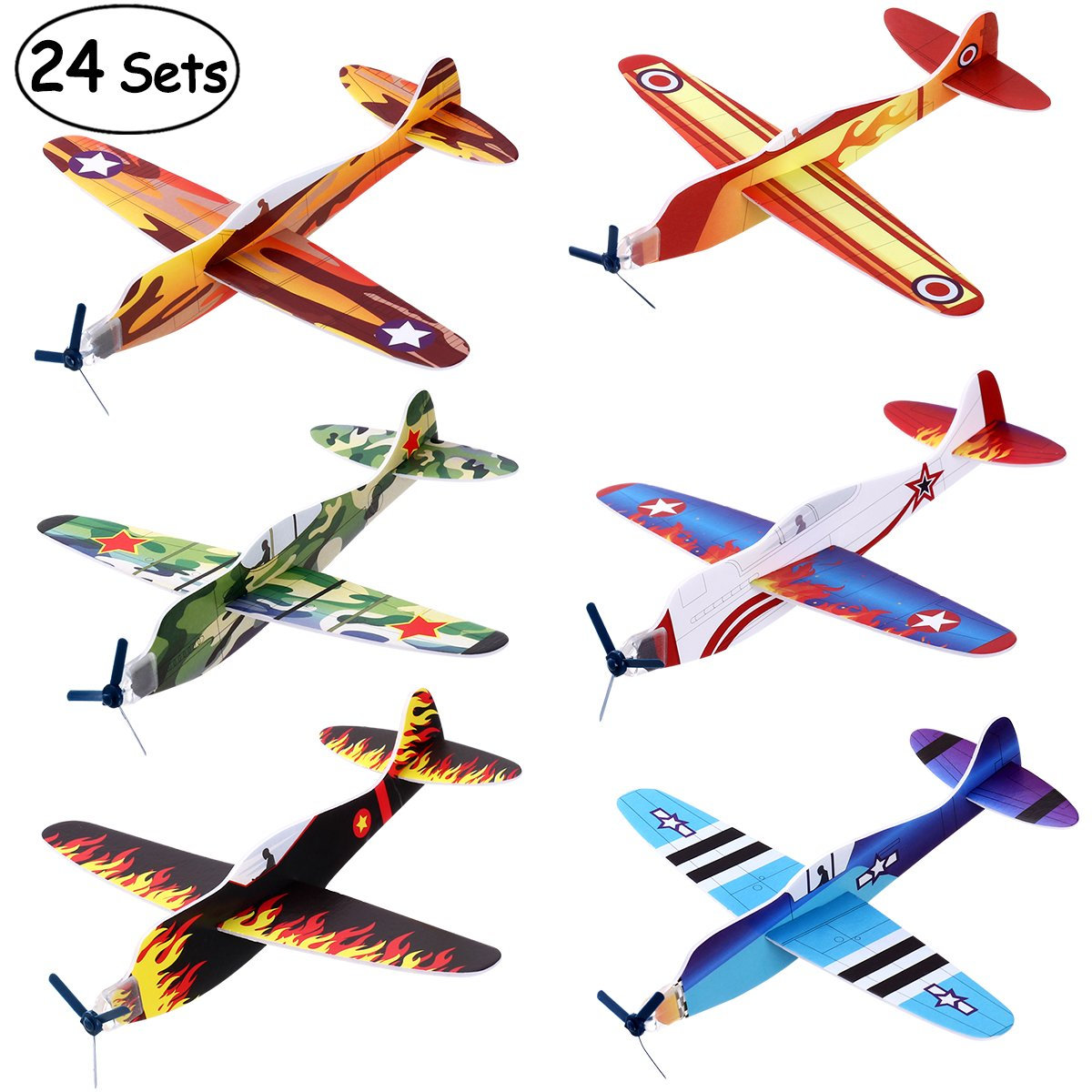 """iBaseToy 24 Pack Flying Glider Plane - 8"""" Foam Airplane Toys in 6 Different Designs, Birthday Party Favors, Classroom Rewards, Carnival Prizes for Boys Girls"""