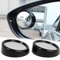 Xotic Tech Blind Spot Mirror 2 pcs Black Round Wide Angle Convex Rear View Stick On Mirror for Car Truck SUVs Motorcycle Universal 1.5""