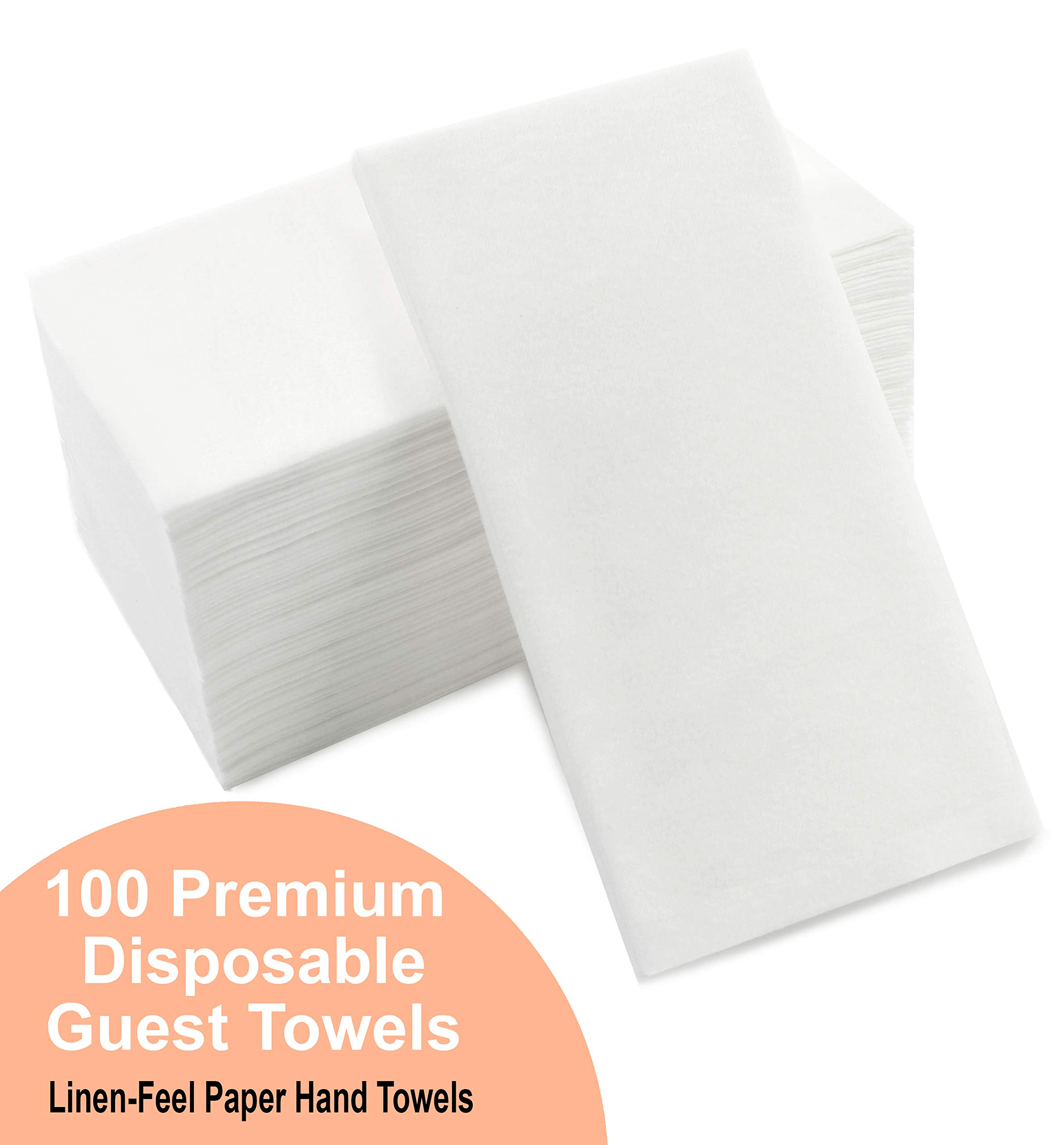 Cavepop 100 Set Disposable White Dinner Napkins, Linen Feel Hand Paper Towels for Plates, Dinner Table, Wedding, Guest Bathroom, Kitchen & More - 8.25 x 4 Inches