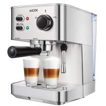 Aicok Espresso Machine, 15 Bar Espresso and Cappuccino Machine with Milk Frother, Stainless Steel Pressure Coffee Brewer for Cappuccino, Latte and Mocha, 1050W