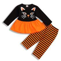 Toddler Baby Girl Halloween Outfits Cat Long Sleeve Tutu Dress Top + Stripe Pants Autumn Clothes Sets 2PCS (Black, 12-18 Months)
