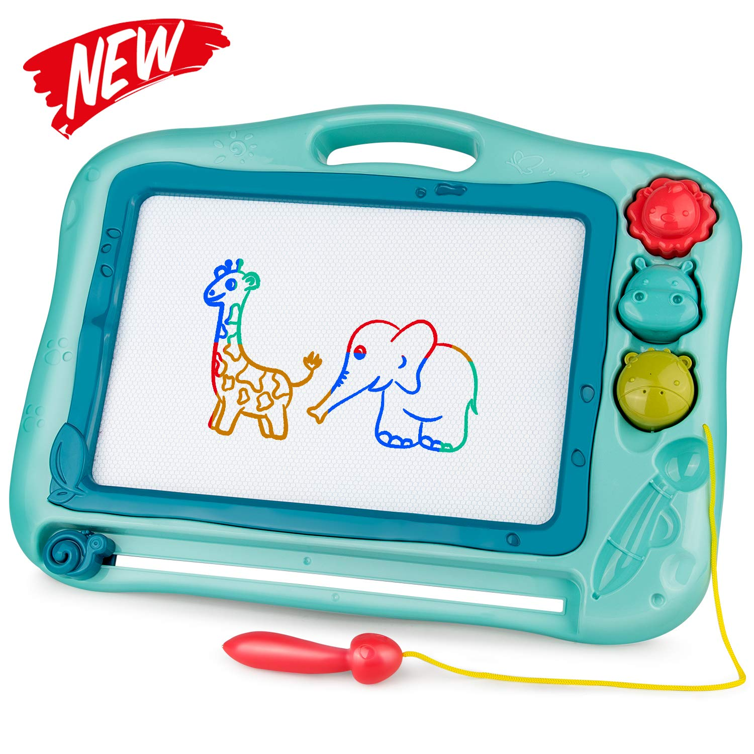 Gamenote Magnetic Drawing Board for Kids 12×16 inch - Doodle Board for Toddlers Comes with Adorable 3 Stamps, Magnet Pen, Gifts for Toddlers Kids Colorful Erasable Magnet Writing Sketching Pad(Blue)