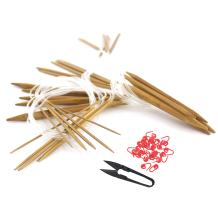 """BambooMN Brand - 30"""" Circular Bamboo Knitting Needles Sets - 15 Size Set, Carbonized Brown - Comes w/Stitch Markers & Snip"""