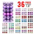 walsport Christmas Balls Ornaments for Xmas Tree, 36ct Plastic Shatterproof Baubles Colored and Glitter Christmas Party Decoration 1.6inch Set (Iris Purple)
