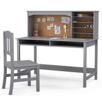 Mecor Kids Desk and Chair Set with Shelves, Display Board and Drawers, Children's Wooden Study Writing Table with Storage, Grey
