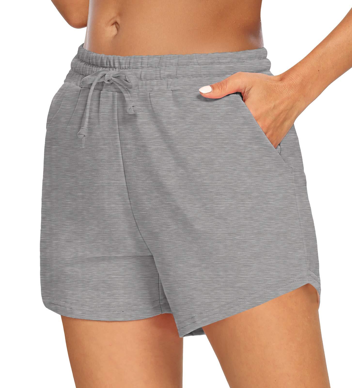 Sarin Mathews Womens Yoga Shorts Comfy Drawstring Lounge Active Workout Running Pants with Pockets