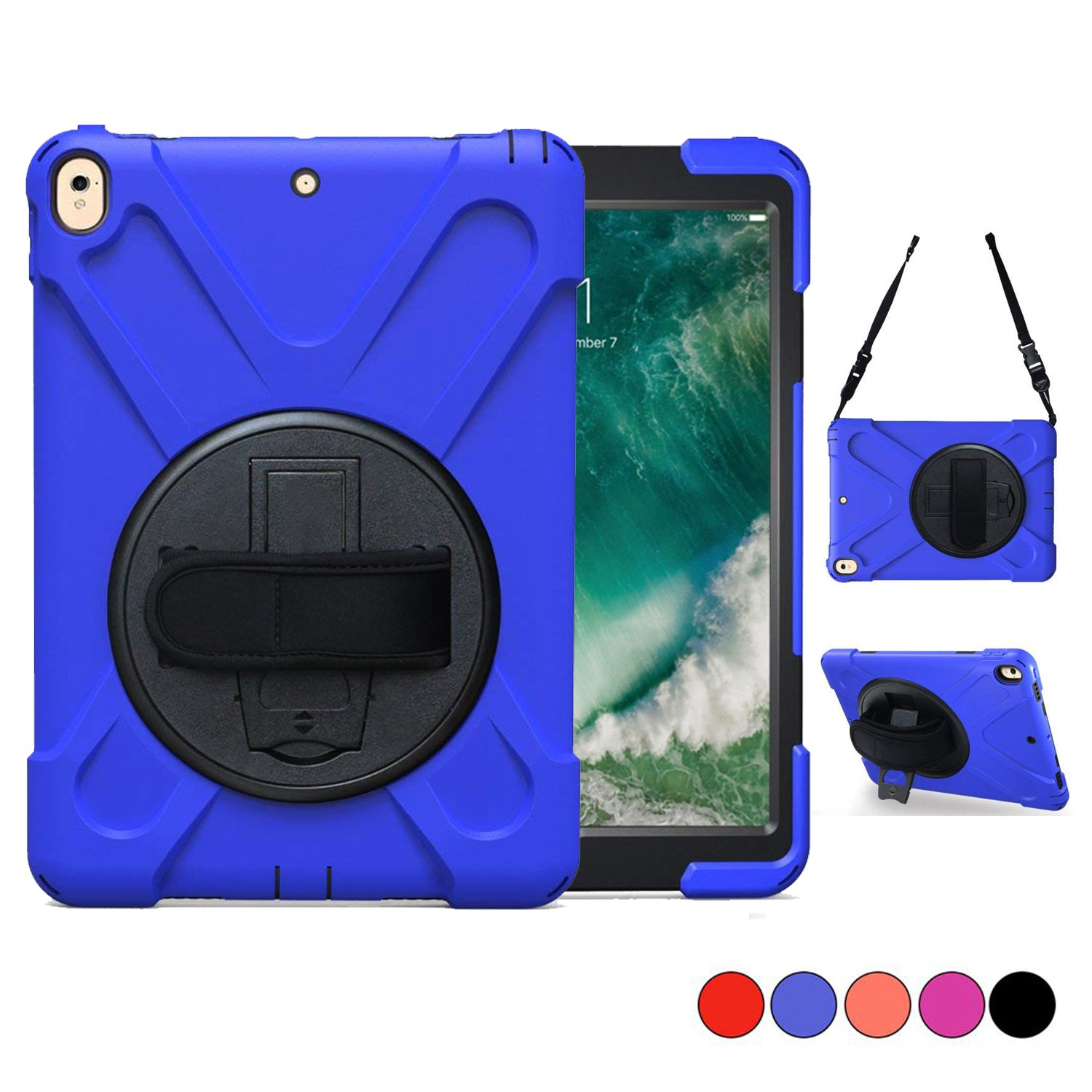 iPad Pro 10.5 Case 2017/ iPad Air 3 Case 2019 with Stand for Kids, TSQ Shockproof Hard Durable Silicon Bumper Case with 360 Swivel Stand, Hand Grip,Neck Strap for 10.5 Inch Cover Kids Child Boys Blue