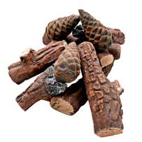 Skyflame 10 Small Piece Set of Ceramic Wood Logs & Accessories for All Types of Indoor Gas Inserts | Ventless & Vented | Propane | Gel | Ethanol | Electric or Outdoor Fireplaces & Fire Pits