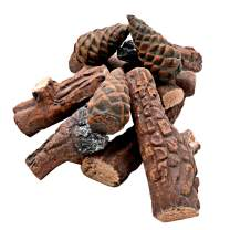 Skyflame 10 Small Piece Set of Ceramic Wood Logs & Accessories for All Types of Indoor Gas Inserts   Ventless & Vented   Propane   Gel   Ethanol   Electric or Outdoor Fireplaces & Fire Pits
