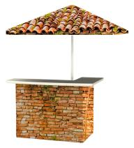 Best of Times 2001W2404 Italian Villa Portable Bar and 8 ft Tall Square Umbrella, One Size, red