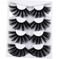 HBZGTLAD NEW 4 Pairs 3D Mink Hair False Eyelashes Criss-cross Wispy Cross Fluffy length 25mm-30mm Lashes Extension Handmade Eye Makeup Tools(MDR-2)