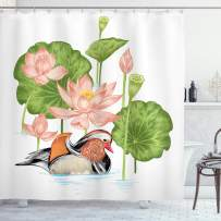 "Ambesonne Rubber Duck Shower Curtain, Baby Mandarin Duckling in Pond with Lotus Lily Flowers Water Painting, Cloth Fabric Bathroom Decor Set with Hooks, 75"" Long, Green White"