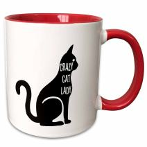 3dRose 192782_5 Crazy Cat Lady Two Tone Mug, 11 oz, Red