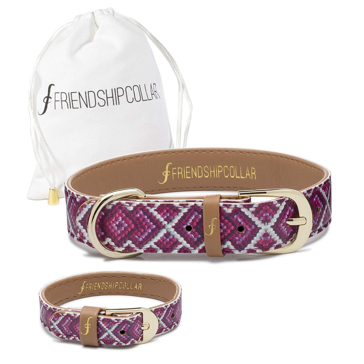 FriendshipCollar Dog or Cat Collar and Matching Bracelet Set - The Pink Princess - Water & Scratch Resistant!