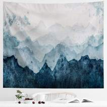 IcosaMro Mountain Tapestry Watercolor Nature Wall Hanging for Bedroom [Double-Folded Hems] Landscape Green Trees Scenery Wall Blanket for Living Room Dorm, 60x82.7, Blue