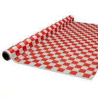 """Party Essentials Heavy Duty Printed Plastic Banquet Table Roll Available in 27 Colors, 40"""" x 150', Red and White Checks"""