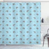 "Ambesonne Grey Blue Shower Curtain, Kiwi Birds Indigenous New Zealand Animals Doodle Style Tropical Wildlife, Cloth Fabric Bathroom Decor Set with Hooks, 70"" Long, Blue and Grey"