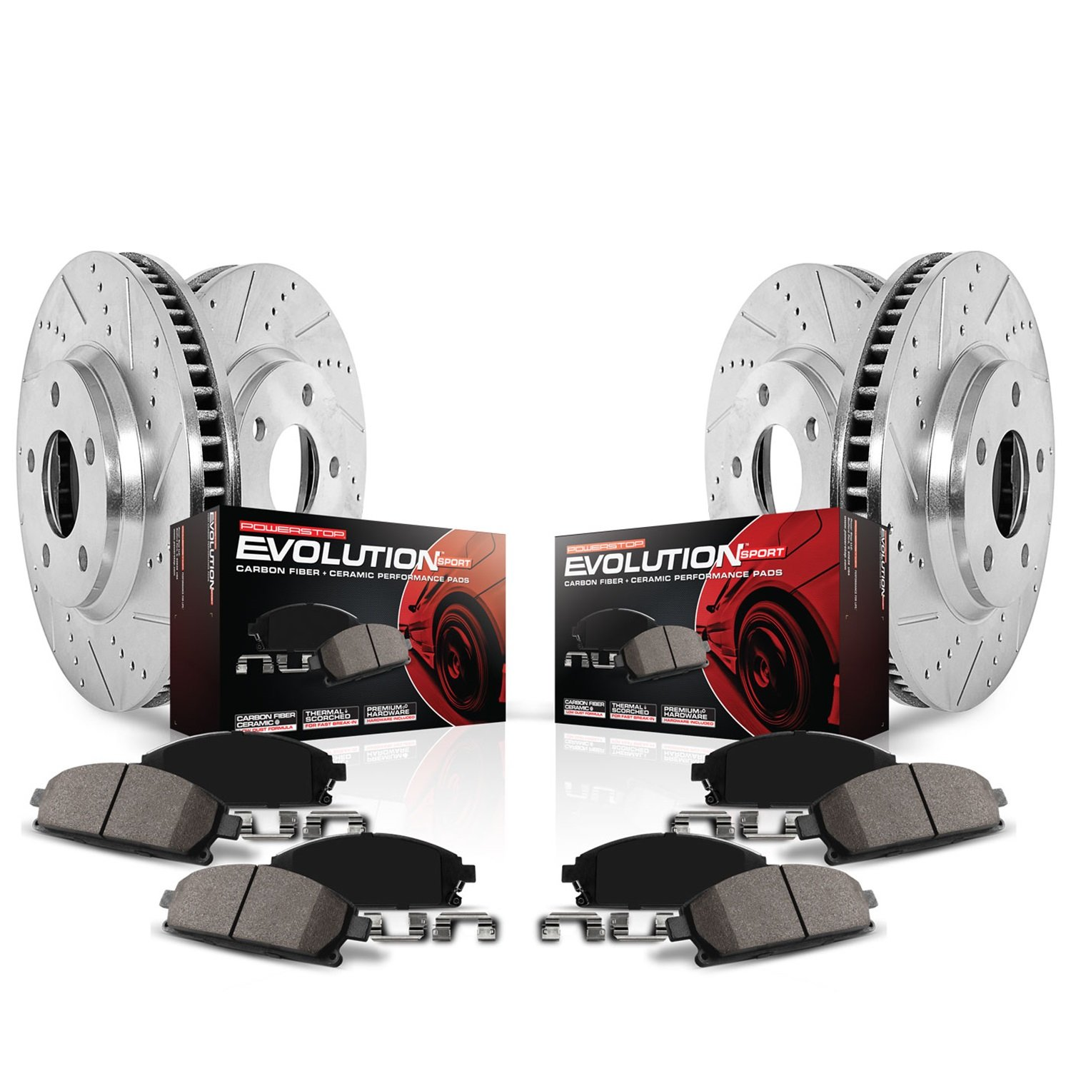 Power Stop K4113 Front and Rear Z23 Evolution Brake Kit with Drilled//Slotted Rotors and Ceramic Brake Pads