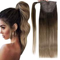 Full Shine 14 Inch Short Wrap Around Ponytail Hair Extension Color 2 Fading to 8 Brown Ponytail Extensions Human Hair With Clips 70 Gram Per Piece No Claw Clip on Ponytail Extension