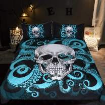 Sleepwish Octopus Tentacle Skull Bedding, Under The Sea Skull and Tentacles of The Octopus Duvet Cover Set, 3 Piece Blue and Black Bed Cover for Kids Boys (Full)