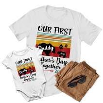 VTH Global Personalized Names Dad Baby Matching Outfits 1st First Fathers Day Shirt Onesie White