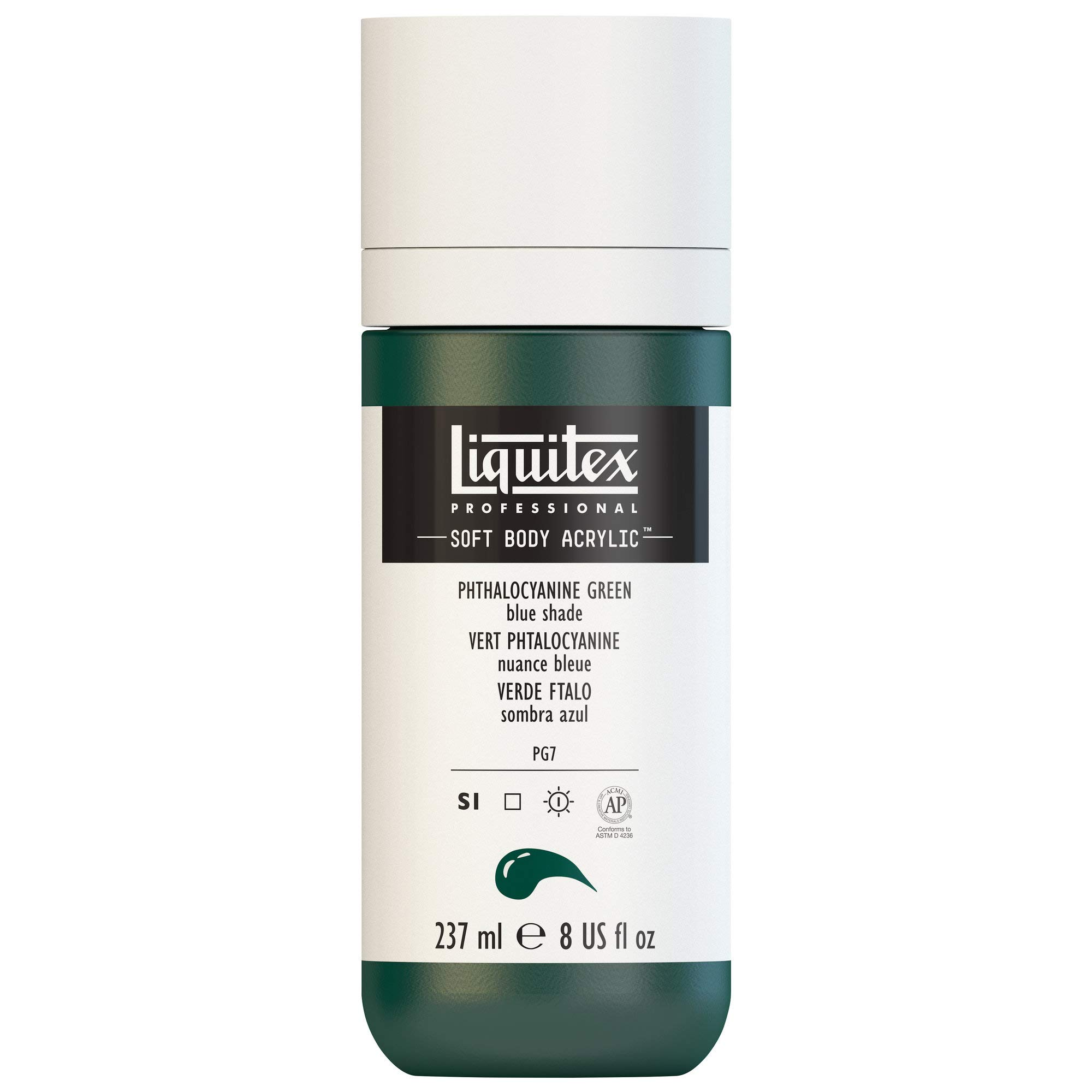 Liquitex Professional Soft Body Acrylic Paint 8-oz bottle, Phthalocyanine Green (Blue Shade)