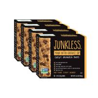 JUNKLESS Chewy Granola Bars, Peanut Butter Chocolate Chip, 24 bars (6 x 1.1 oz bars/box – 4 boxes), Non-GMO, low sugar, great tasting, made for kids & families