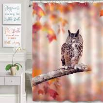 MitoVilla Wildlife Bathroom Ornaments for Animal Lovers, Great Horned Owl Perched in The Autumn Woods Bathtub Shower Curtain, Thick Polyester Bathroom Accessories, Red Gray, 72 W x 78 L Long