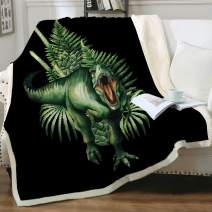 "Sleepwish Watercolor Tirannosaurus Blanket 3D Jurassic Dinosaur Sherpa Fleece Blanket Green Prehistoric Plants Soft Cozy Fluffy Warm and Fuzzy Blankets for Kids Teens Boys Throw(50""x60"")"