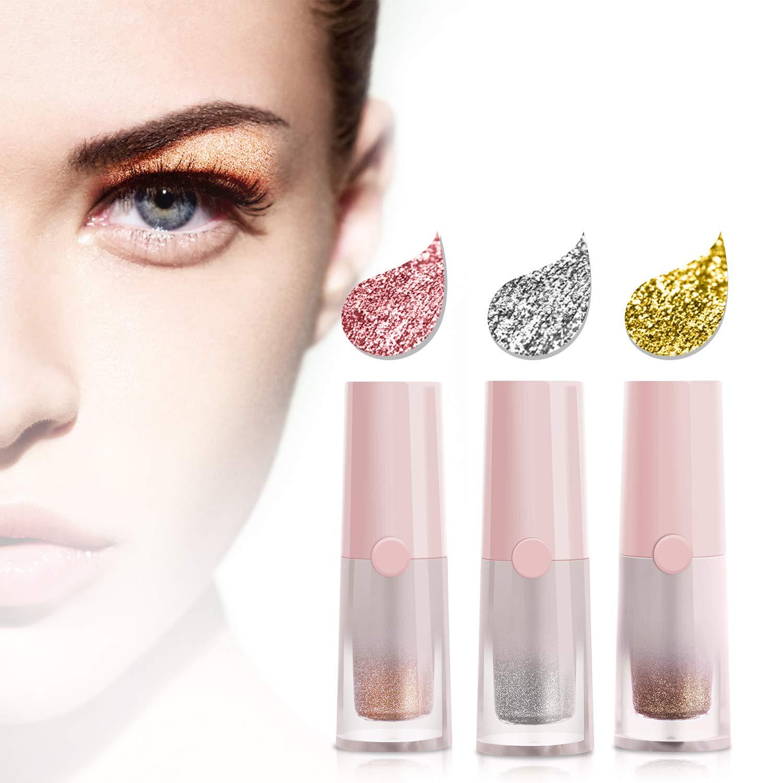 JDO Liquid Eyeshadow Glitter Eyeshadow Eyeliner Eye Shadow Eye Makeup Waterproof Long Lasting 3 Colors Pink Silver White Gold Brown