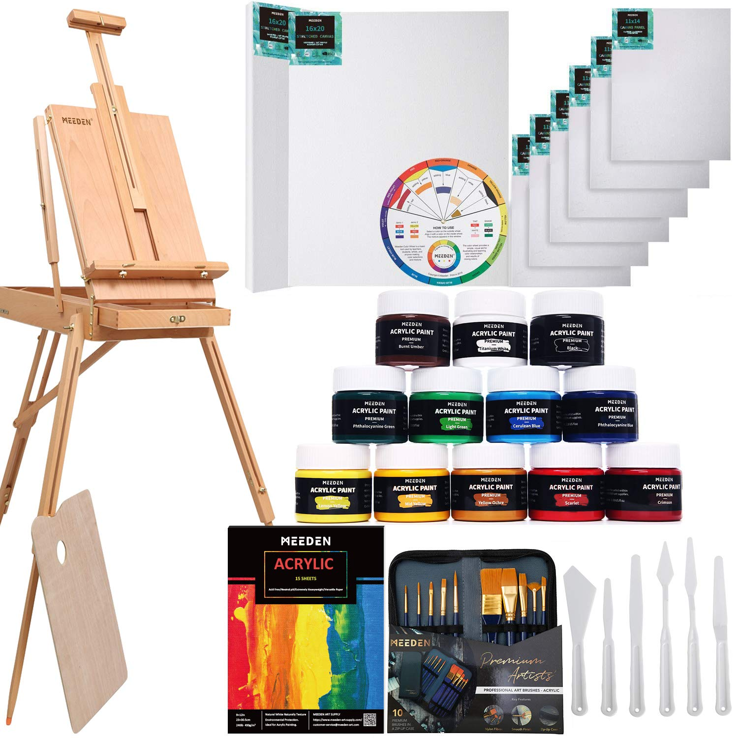 MEEDEN 40 Pcs Deluxe Artist Painting Kit with French Style Easel, Acrylic Paint Set, Paintbrushes, Canvas Panel, Stretched Canvas, Nice Gift for Artists, Beginner & Adults