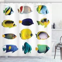 "Ambesonne Aqua Shower Curtain, Tropical Fish Animal with Zebrasoma Anemonefish Dive Nemo Aquatic Life Theme, Cloth Fabric Bathroom Decor Set with Hooks, 75"" Long, Blue"
