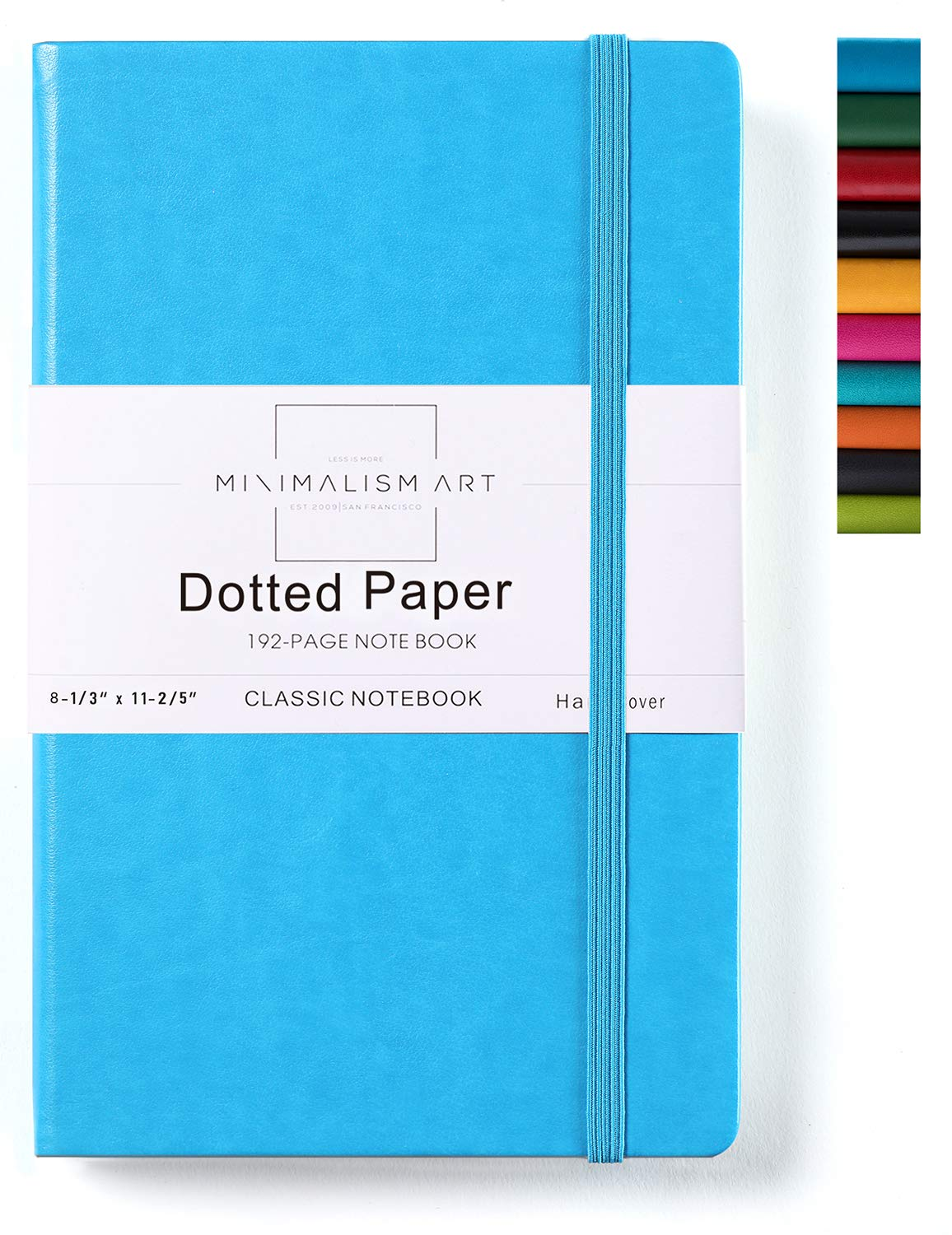 Minimalism Art, Classic Notebook Journal, A4 Size 8.3 X 11.4 inches, Blue, Dotted Grid Page, 192 Pages, Hard Cover, Fine PU Leather, Inner Pocket, Quality Paper-100gsm, Designed in San Francisco